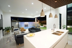 Modern clean lines and the warmth of timber. Custom kitchen designs Brisbane